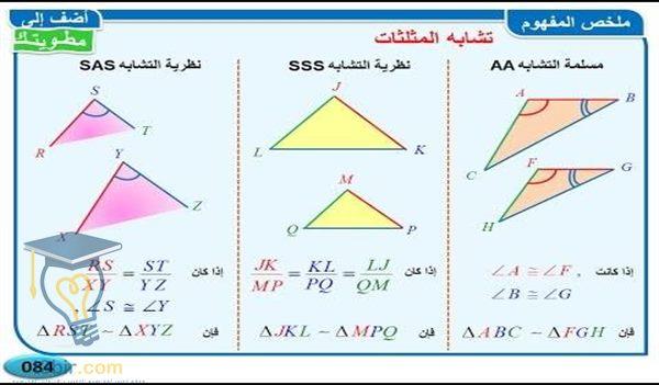 بحث كامل عن المثلثات المتشابهة